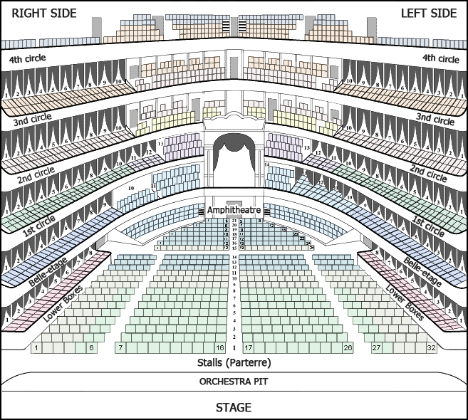 Bolshoi Ballet and Opera theatre - Hall Plan - Main (Historic) Stage